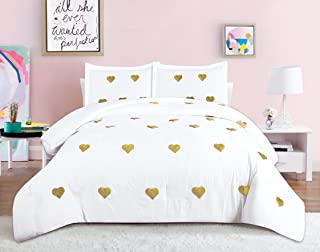 Beatrice Home Fashions Sequin Hearts Comforter Set, Twin, White