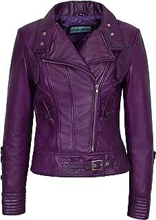 Supermodel Ladies Purple Green Rock Biker Style Designer Real Nappa Leather Jacket