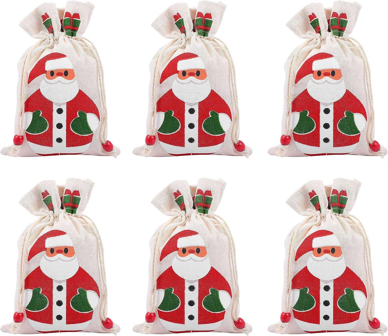 YARDWE 6Pcs Portable Christmas Drawstring Bags Santa Candy Max 42% OFF Opening large release sale Patte