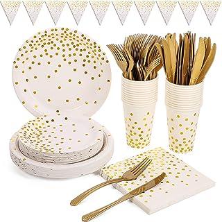 Blanches et Or Vaisselle de Fête 150PCS Réutilisable Vaisselle Papier Set Comprendre Assiettes en Papier, Serviettes, Tass...