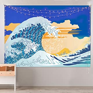 Hotmir Wall Tapestry Hanging - Great Wave Tapestry Ocean as Wall Art and Home Decor for Bedroom, Living Room, Dorm Decor (Blue & White, 51.2x59.1 Inches)
