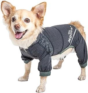 Dog Helios ® 'Namastail' Lightweight 4-Way Stretch Breathable Full Bodied Performance Yoga Dog Hoodie Tracksuit, Large, Black