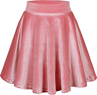 Urban CoCo Women`s Vintage Velvet Stretchy Mini Flared Skater Skirt