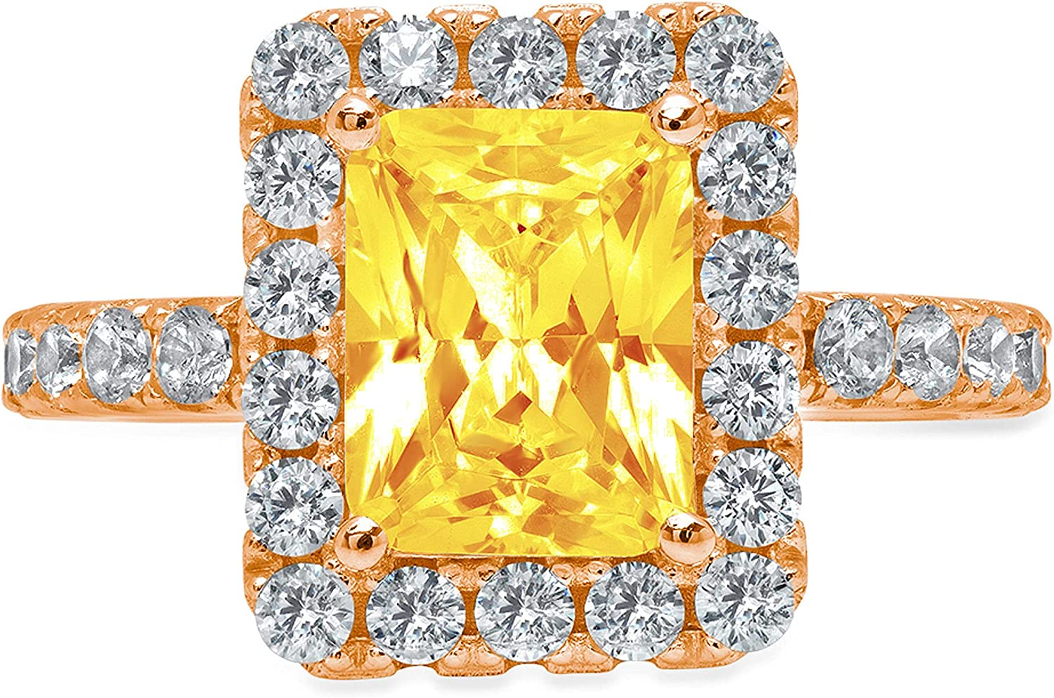 3.84ct Brilliant Emerald Cut Solitaire with Accent Halo Natural Yellow Citrine Gemstone Ideal VVS1 Engagement Promise Statement Anniversary Bridal Wedding ring 14k Pink Rose Gold