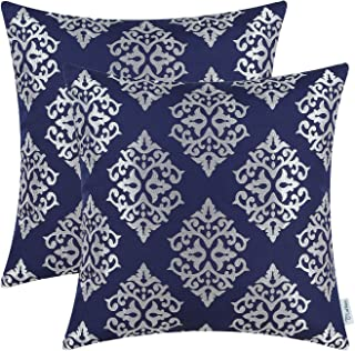 navy blue and silver throw pillow