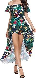 SE MIU Women's Off Shoulder Boho Split High Low Floral Maxi Romper Dress