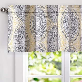 DriftAway Adrianne Damask and Floral Pattern Window Curtain Valance 52 Inch by 18 Inch Yellow and Gray