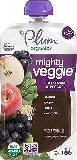 Plum Organics Mighty Veggie Spinach, Grape, Apple & Amaranth, 4oz (Pack of 12)