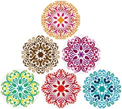 Coasters Absorbent Stone For Drinks 6-Pack, Drink-spill Protection Prevents Stain or Damage to Furniture - 6 Mandala Styles in a Set, 4.3 inch Oversize Thirsty Ceramic Base With Cork Bottom, No Holder