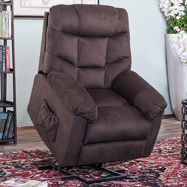 Harper Bright Designs Espresso Power Elderly Lift Electric Recliner Chairs With Remote Control Fabric Lounge