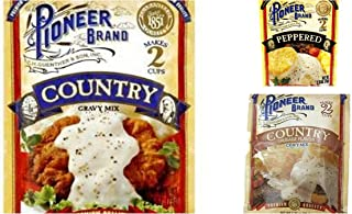 Pioneer Brand Gravy Variety Bundle, 2.75 oz (Pack of 6) includes 2-Count Peppered Gravy Mix + 2-Count Country Sausage Flavor Gravy Mix + 2-Count Country Gravy Mix
