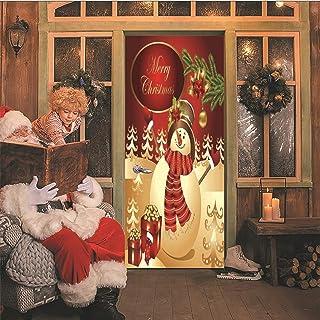 AKSBHC Carta da parati 3D per porte murale 95x215cm Pupazzo di neve di Natale buone vacanze Poster per porta casa azienda ...