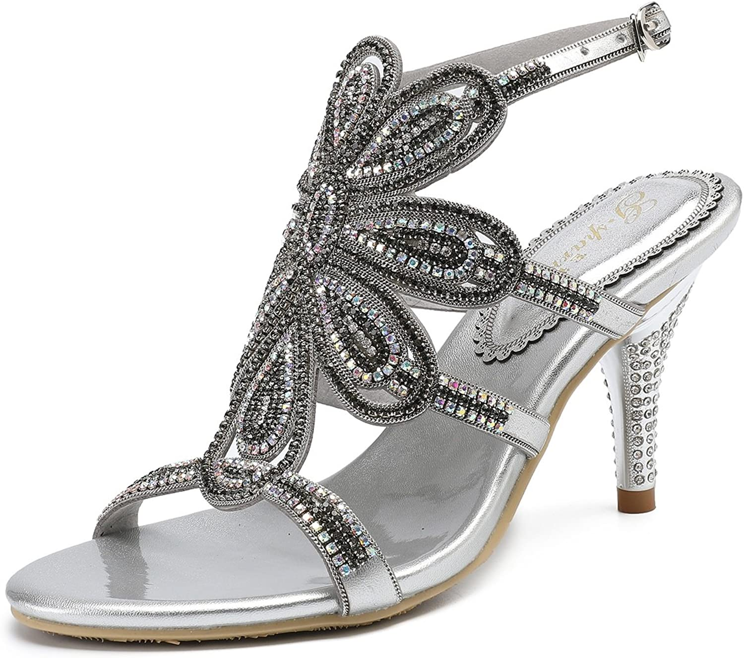 Women's shoes Leather Summer Club shoes Sandals Stiletto Heel Open Toe Rhinestone Glitter for Wedding Party & Evening Silver