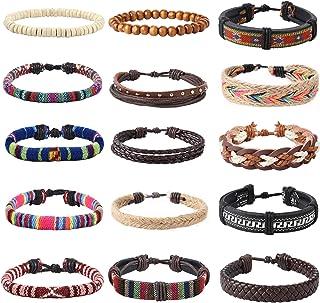 YADOCA 15-18 Stück Leder Chakra Bead Tribal Armband Unisex National Charme Handgestrickt Boho Hanf Holz Perlen String Armbänder für Männer Frauen Mädchen Armbänder