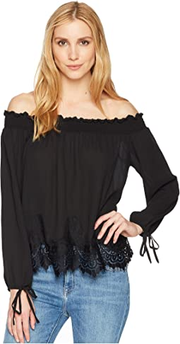 Off the Shoulder Top with Scalloped Lace