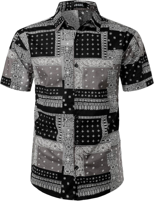 JOGAL Men's Paisley Bandana Print Hawaiian Shirt
