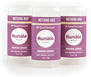Humble All Natural Deodorant, Aluminum and Paraben Free, Cruelty Free Men's and Women's Deodorant, Essential Lavender, 3-Pack