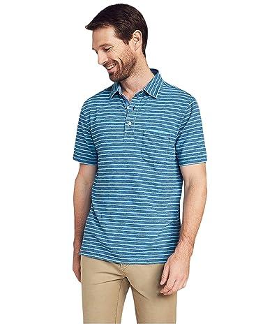 Faherty Short Sleeve Indigo Polo (Indigo Turquoise Stripe) Men