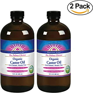 Heritage Store Palma Christi Organic Castor Oil | Hair and Eyebrow Growth | Skin Moisturizer | Cold Pressed, Hexane & Fragrance Free | 16 oz | 2 pk