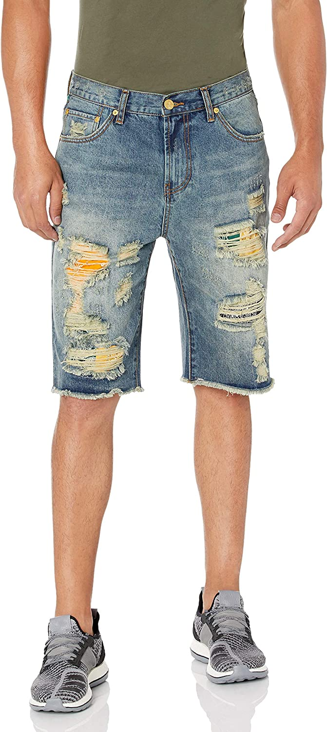 LRG Lifted Research Group Mens Ripped /& Torn Denim Jean Shorts New 32