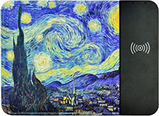 Wireless Charging Mouse Pad,Qi Certified Wireless Charger,Fashion Mouse Pad,2 in 1 Charge,Quick Charge,All-in-one for iPhone & Samsung,etc,Qi Charger Applicable (Van Gogh's Starry Sky)