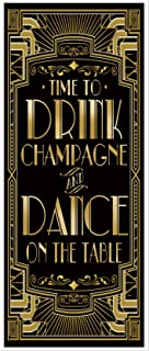 musykrafties Roaring 20s Gatsby Theme Time to Drink Champagne and Dance on The Table Door Cover Art Deco Jazz Party 72x30inch