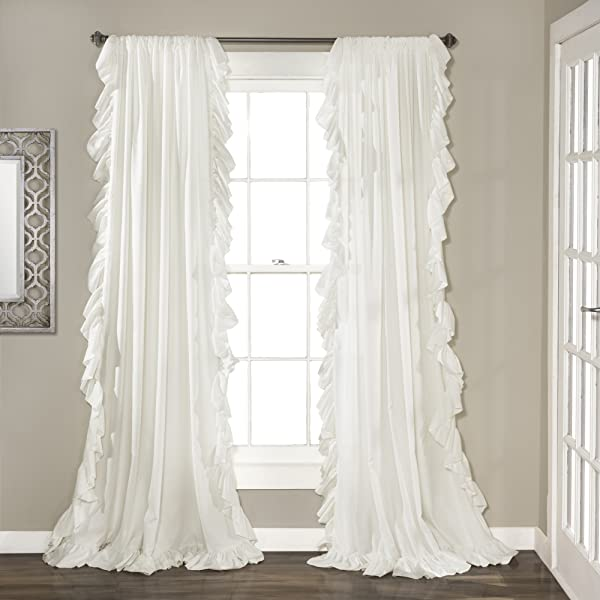 Lush Decor Reyna White Window Panel Curtain Set For Living Dining Room Bedroom Pair 84 X 54