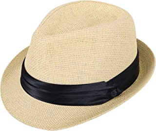 Kids Fedora Straw Sun Beach Fedora Hat-Short Brim with PU Leather/Band Accent
