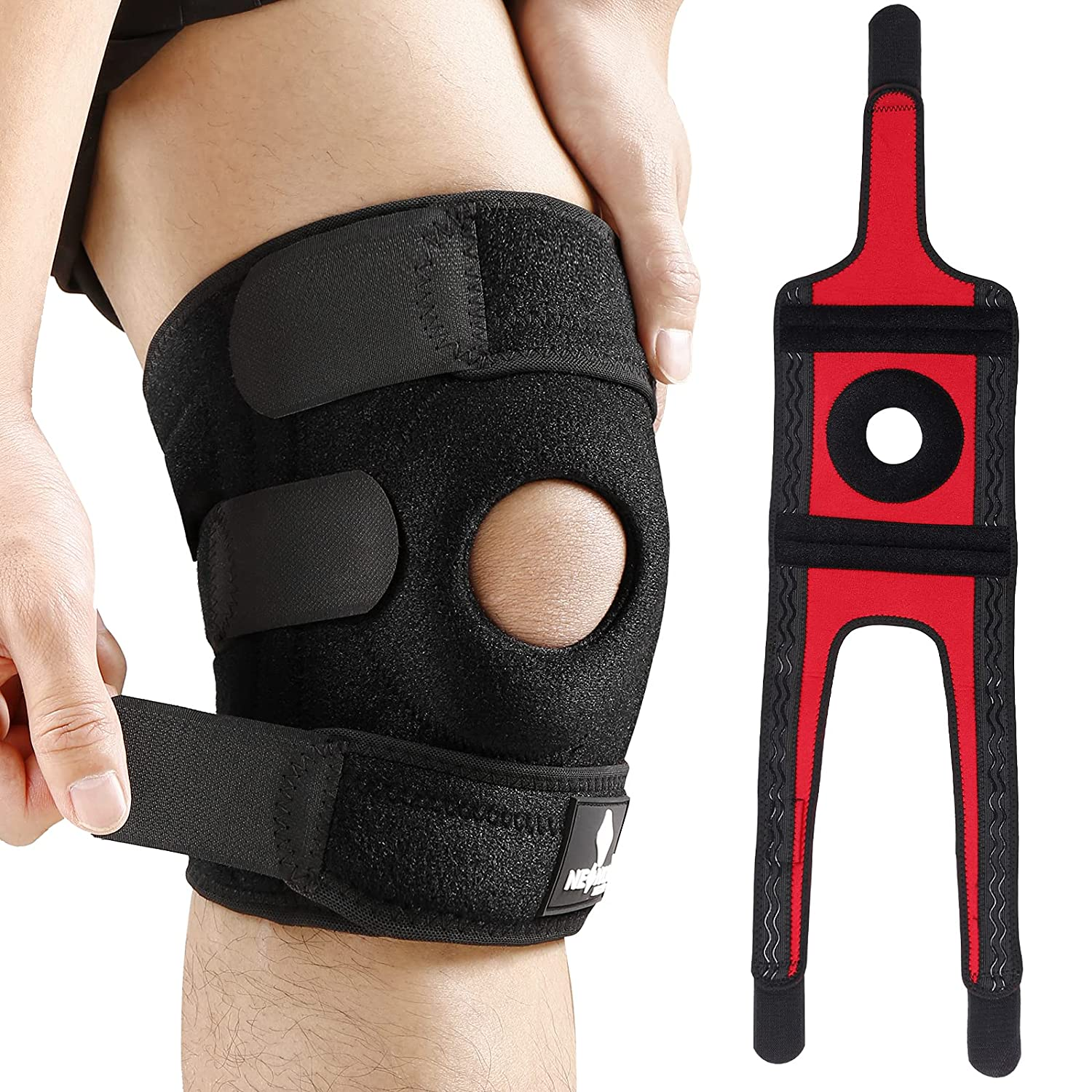 NEENCA Knee Brace with Side Stabilizers & Patella Gel Pads, Adjustable Velcro Straps Knee Support Wrap for Knee Pain,Running,Meniscus Tear,ACL,Joint Pain Relief, Injury Recovery,Sports-4 Sizes. ACE-55: Industrial & Scientific