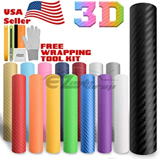 EZAUTOWRAP Free Tool Kit Orange 3D Carbon Fiber Textured Matte Car Vinyl Wrap Sticker Decal Film Sheet - 12