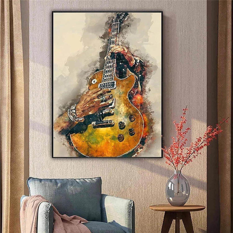 JLFDHR Impresión en lienzo de 60 x 80 cm, sin marco, guitarra eléctrica abstracta, pintura, arte de pared, póster, salón, decoración, menos cultura del hogar