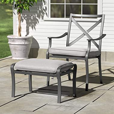 """Amazon Brand - Ravenna Home Archer Steel-Framed Outdoor Patio Ottoman with Water-Resistant Cushion, 16.54""""W, Gray"""