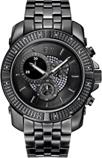 JBW Luxury Men's Warren 16 Diamonds Black Ion-Plated Stainless Steel Metal Watch