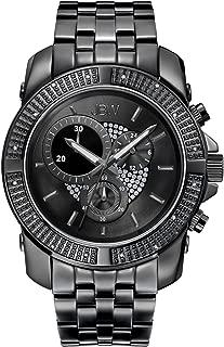 JBW Luxury Men's Warren 16 Diamonds Black Ion-Plated Stainless Steel Metal Watch