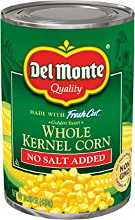 (Pack of 24) Del Monte Canned Golden Sweet Whole Kernel Corn No Salt Added, 24x15.25oz Canned Corn