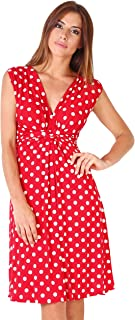 Womens Casual Party Cocktail Polka Dot Knot Front Ruched Waist Dress Plus Size