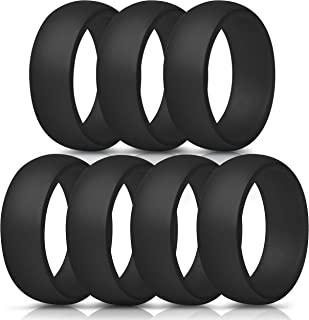 Silicone Rings, 7 Rings / 1 Ring Wedding Bands for Men – 8.7 mm Wide – 2.5mm Thick