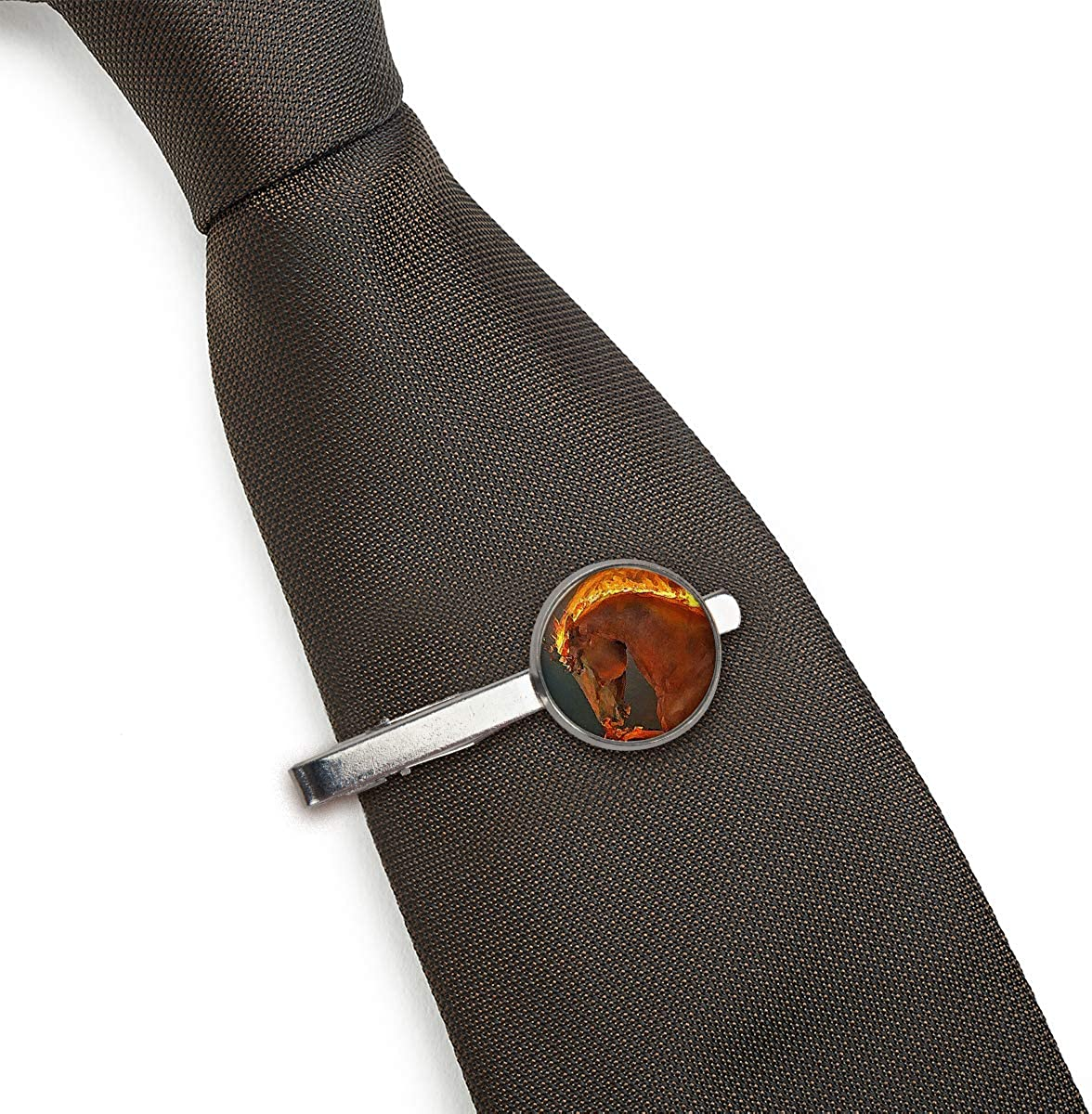 LooPoP Men Tie Clip Fire War Horse Stainless Tie Pins for Business Wedding Shirts Tie Clips Include Gift Box