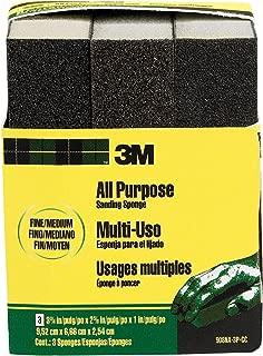 3M Sanding Sponge, Fine/Medium, 3.75-Inch by 2.625-Inch by 1-Inch,  3-Pack - 908NA-3P-CC