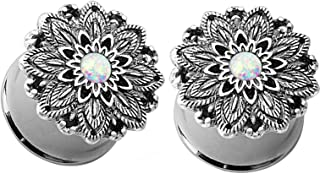 Pair of Synthetic Opal Lotus Flower Double Flared Ear Plugs Tunnels Steel/Brass Gauges