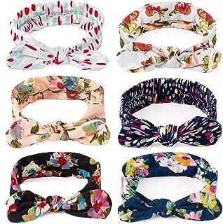 Dlala Women Headbands 6pcs Turban Headwraps Hair Band Bows Accessories for Fashion Or Sport (Boho Floral)