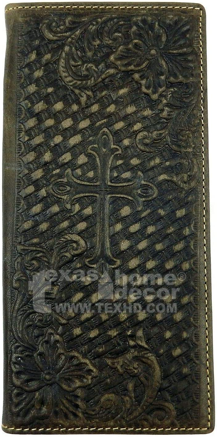 Décor-Rif-Home Men's Wallet Leather Floral Woven Pattern Gray Western