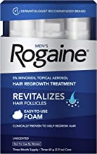 Men's Rogaine 5% Minoxidil Foam for Hair Loss and Hair Regrowth, Topical Treatment for Thinning Hair, 3-Month Supply,2.11 Ounce (Pack of 3)