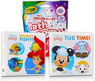 Disney Bath Books Collection Bundle ~ 2 Pack Disney Waterproof Books for Toddlers Babies Featuring Mickey Mouse, Little Me...