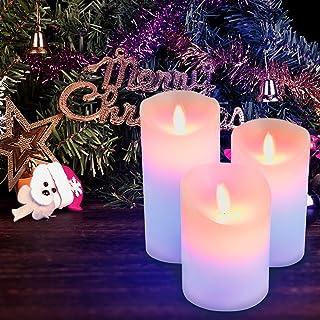 Furado Velas LED sin llama, Portavelas LED sin llama, Candelitas multicolores Luces de vela Mecha parpadeante Lámpara eléctrica de cera real con función de temporizador de control remoto