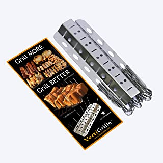 VertiGrille Vertical Skewer Rack - 12 Skewers Rib Rack, Chicken Wing Rack, Salmon Grill, Tandoori Grill, Jalapeno Grill & More. Made in USA. Stores Flat in Kitchen Drawer.