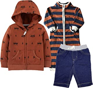 Carter's Baby Boys' 3-Piece Star Jumpsuit,Hooded Jacket and Pant Set