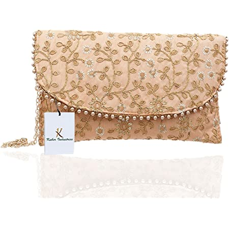 Kuber Industries Women's Handcrafted Embroidered Clutch/Purse (CTKTC034518, Peach)