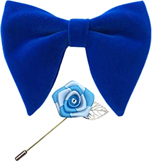Mens Pre-Tied Oversized Velvet Bow Tie with Flower Lapel Pin Brooch for Suit Wedding Tuxedo Bowtie Set