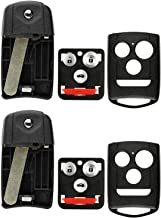KeylessOption Keyless Entry Remote Control Uncut Blank Flip Key Fob Shell Case Outer Cover (Pack of 2)